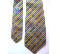 Hermes yellow blue striped tie