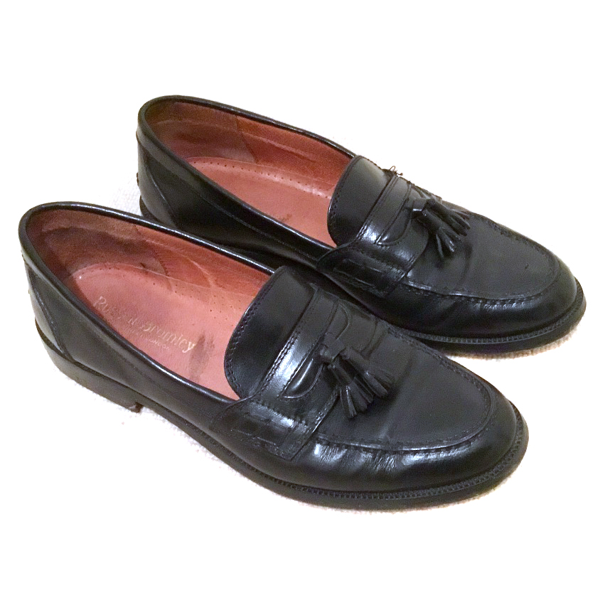 mens black leather loafers low cost