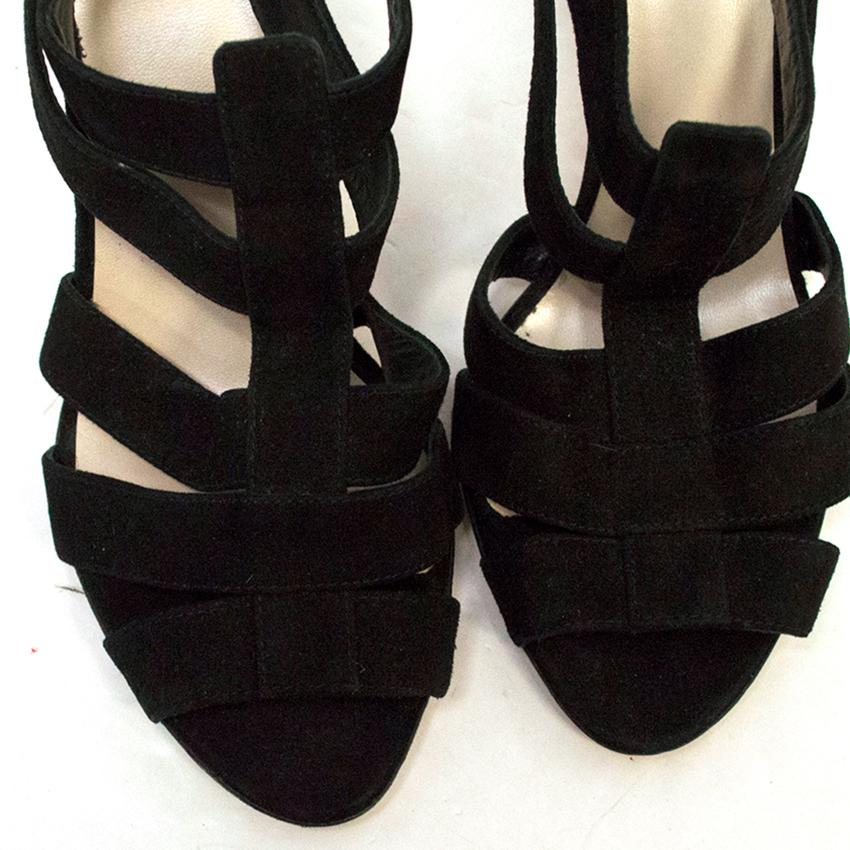 4512e7b8211ea7 Christian Dior Black Suede Strappy Sandals