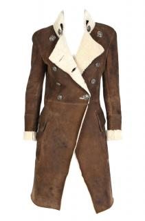 Balmain Double Breasted Shearling Fur Coat