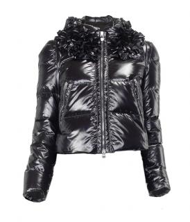 Paule Ka black glossy quilted cropped goose feather jacket