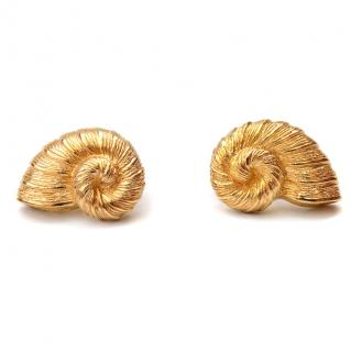 Christian Dior Vintage Gold Tone Shell Clip on Earrings