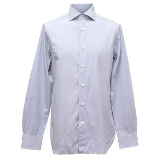 Ermenegildo Zegna Mens White and Blue Fine Striped Shirt
