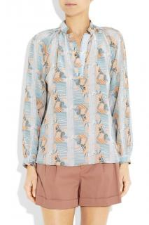 Tucker Printed Silk Blouse