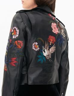 Sandro Paris Pattie Embroidered Leather Jacket