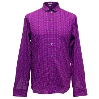 Dries Van Noten Mens Purple Shirt with White Spots