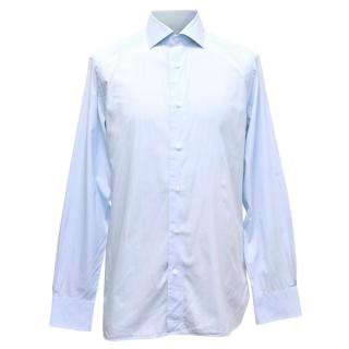 Ermenegildo Zegna Mens Blue & White Fine Striped Shirt