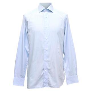Ermenegildo Zegna Mens Blue & White Fine Striped Shirt