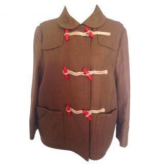 See By Chloe tan dufflecoat with red buttons