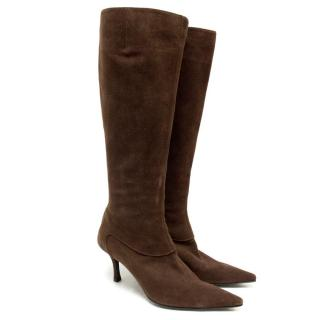 Sergio Rossi Brown Suede Long Heeled Boots