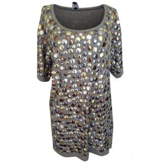 M Missoni Grey Mini Dress with Gold/Bronze Petals