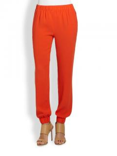 Tibi Orange Crepe Track Pants