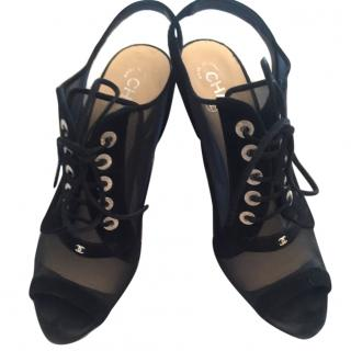 Chanel Black Heeled Sandals