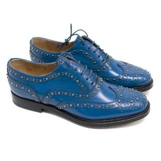 Church's Women's Studded Blue Polished Leather Brogues