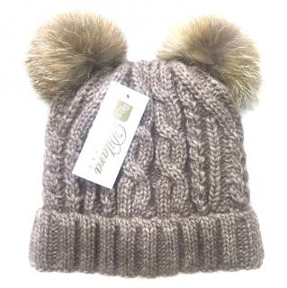 Russian Fur Company 2 Pom Pom Hat with Fox Fur