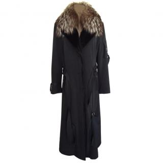 Mazzi enhanced trench coat with fox collar