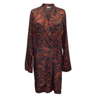 Dries Van Noten Red & Blue Printed Kimono Wrap Dress