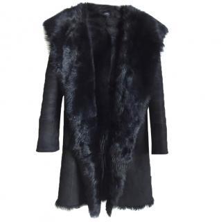 Joseph Toscana Anais lambskin long coat in black