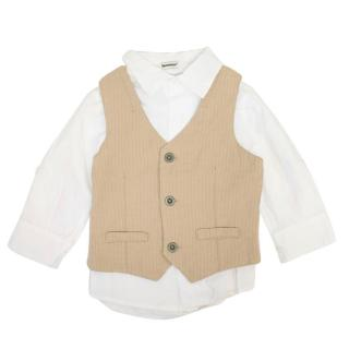 3pommes Boys White Shirt and Beige Vest
