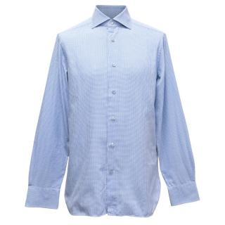 Ermenegildo Zenga Men's Blue Houndstooth Patterned Shirt