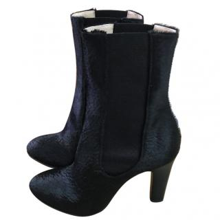 Chanel black leather / pony skin boots