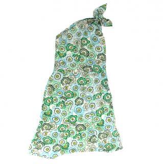 Gucci Green Floral Print Silk Shoulder Tie Dress
