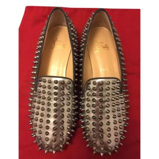 Christian Louboutin Silver Rollerboy Spike Loafers