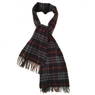 Burberry Cashmere Navy & Red Check Scarf