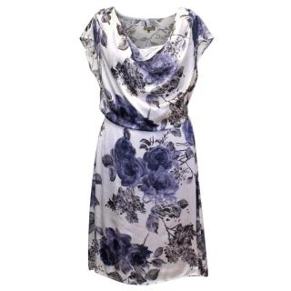 Maliparmi Ivory Blue Floral Silk Dress