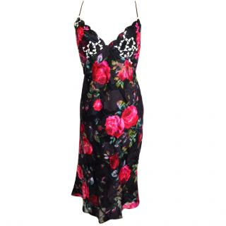 Emanuel Ungaro oblique cut camisole style floral silk dress