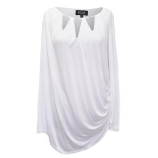Holy Tee White Long Sleeve Top With Ruching