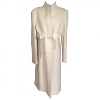 Valentino off white wool mid-length coat
