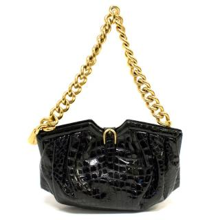 Jimmy Choo Black Patent Crocodile Embossed Shoulder Bag