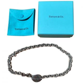 Tiffany Sterling Sliver Return To Tiffany Oval Tag Choker Necklace
