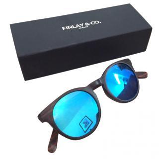 Finley & co Wooden framed blue lens glasses