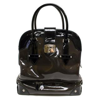 Hardy Amies Black & Brown  Patent Leather Tote