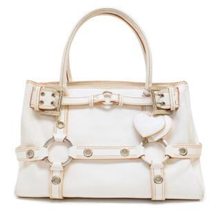 Luella For Mulberry White Leather Tote With Heart Key-ring