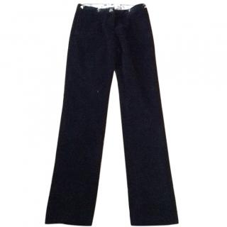 Roberto Cavalli class navy cotton velour trousers