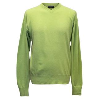 Richard Jame's Savile Row Men's Bright Green Jumper