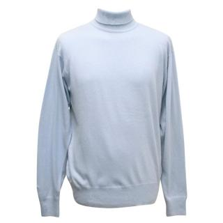 Richard James Savile Row Men's Light Blue Roll Neck Jumper