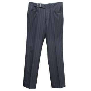 Hugo Boss Men's Grey Striped Trousers