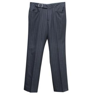 Hugo Boss Men's Grey Striped Trousers