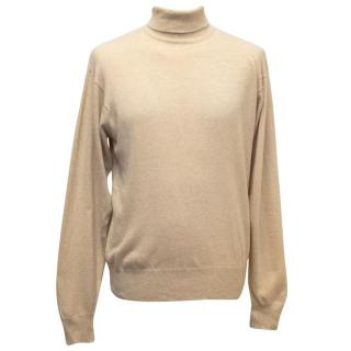 Richard James Savile Row Men's Tan Turtleneck Jumper