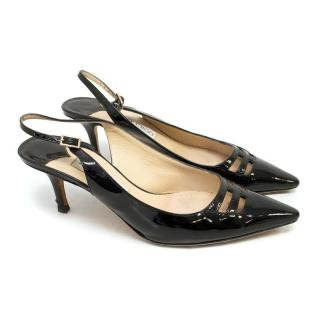 Jimmy Choo Black Pointed Toe Slingback Kitten Heels