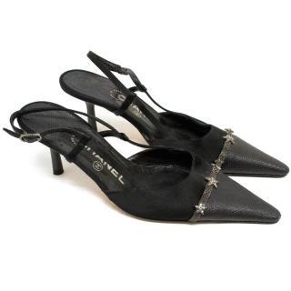 Chanel Black Slingback Kitten Heels