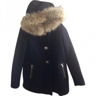 Sandro Coat with raccoon fur