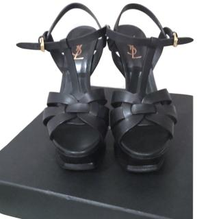 YSL Classic Tribute 105 Sandals in Black Leather