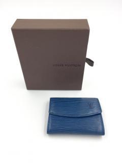 Louis Vuitton Blue Epi Leather Porte Monnaie Simple Wallet & Box