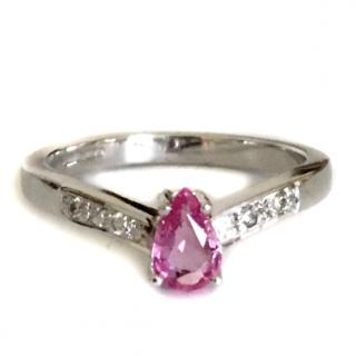 9ct White Gold Pink Topaz & Diamond Ring