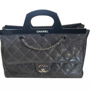 Chanel Grey Calf Skin Shoulder Tote